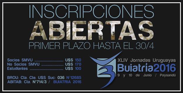 Inscripciones abiertas para Buiatría 2016: Primer plazo hasta el 30/4